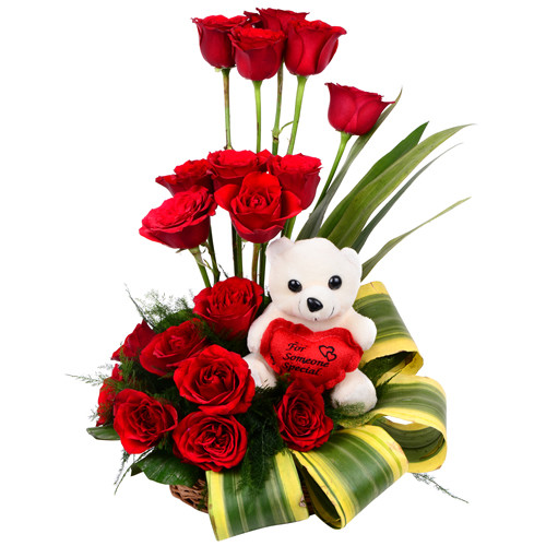 18 Red Roses Basket along with a Teddy