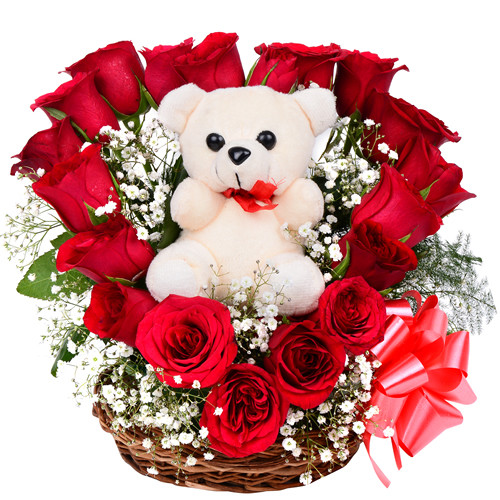 01 cute teddy bear with 18 fresh red roses nicely arranged in heart 18 red roses in heart shape and 1 cute teddy bear in a basket voltagebd Choice Image
