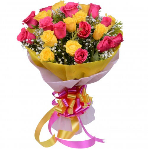 20 Pink Amp Yellow Roses Fancy Bunch With Pink Amp Yellow Dual