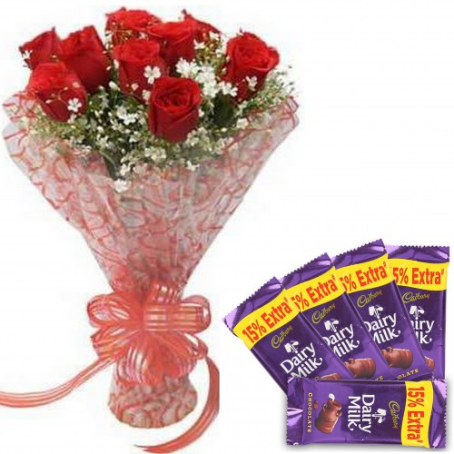 01 Beautiful 10 Red Roses Bunch Red Bow With 5 Small Cadbury Dairy