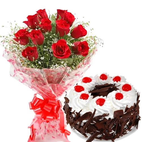 12 Red Roses Simple Bunch + Half Kg Black Forest