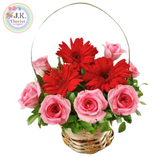 A Beautiful Basket of 7 Fresh Pink Roses & 3 Red Gerberas