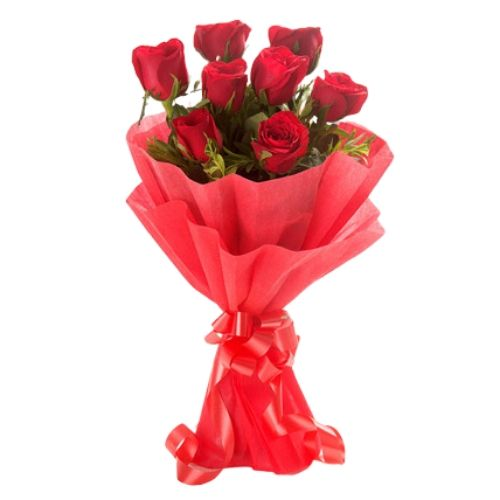 A Beautiful Bunch of 8 Red Roses Wrapped with Red Paper & Bow