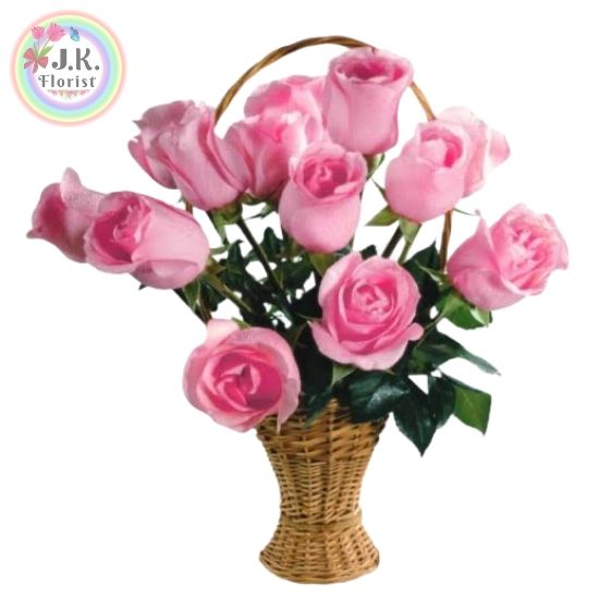 A Beautiful Basket of 10 Pink Roses