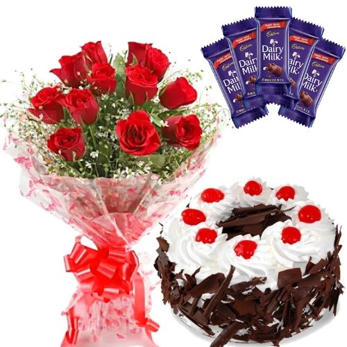 12 Red Roses Simple Bunch + Half Kg Black Forest + 5 Small Cadbury