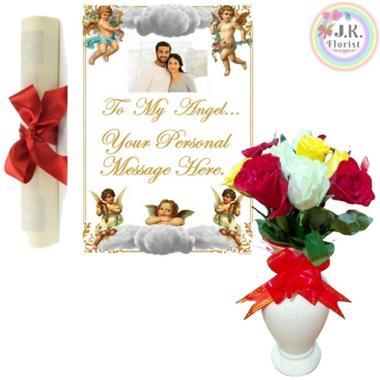 8 Mix Roses White Vase + Angel Theme Message