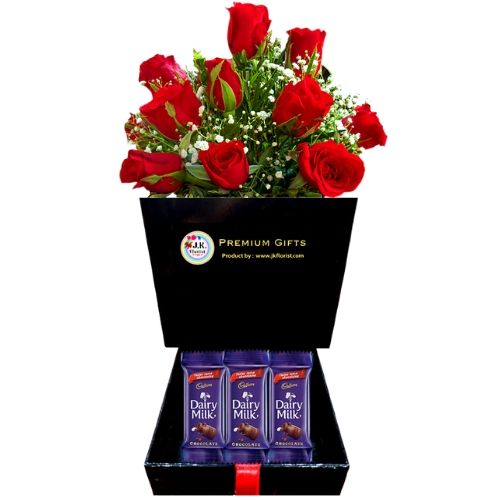 PREMIUM Box Filled with 12 Red Roses + 3 Small Cadbury