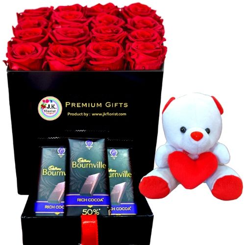 PREMIUM Box Filled with 16 Red Roses + 3 Bournvilles + Teddy
