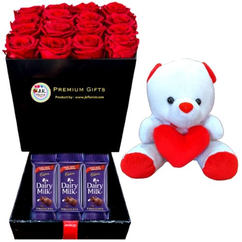 PREMIUM Box Filled with 16 Red Roses + 3 Cadbury + Teddy