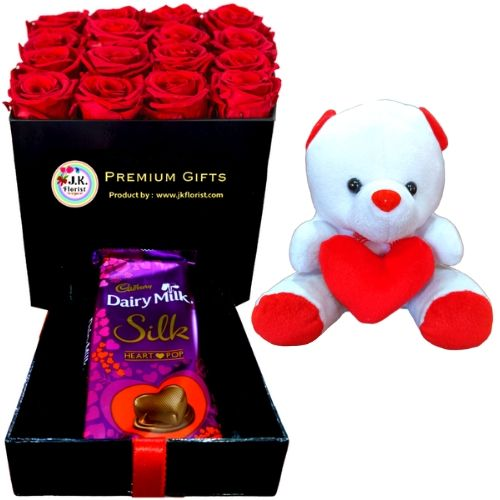 PREMIUM Box Filled with 16 Red Roses + Big Silk + Teddy